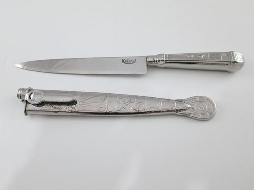 faca gaúcha churrasco inox 6 bainha e cabo imita prateada