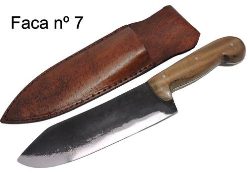 faca gaúcha forjada antiga mola de trem - 8 pol.