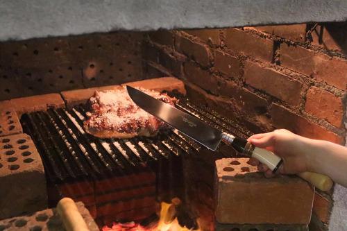 faca gaúcha n° 10 aço inox cabo curvo chifre madeira osso
