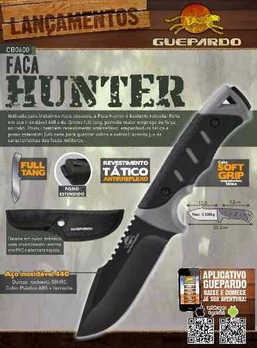 faca guepardo hunter tática sobrevivência fulltang bushcraft