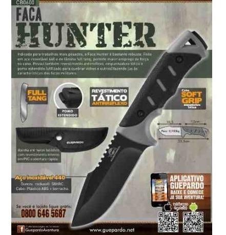 faca hunter guepardo - full tang inox - camping, tática, nfe