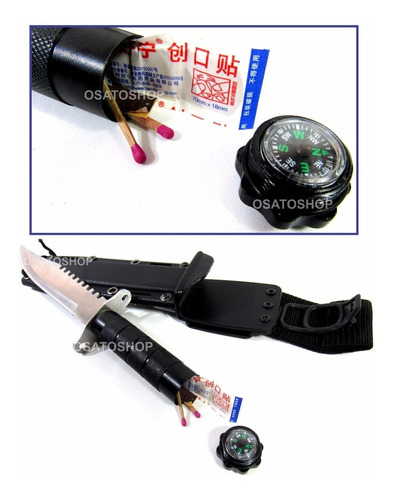 faca militar tática hk205 kit sobrevivência caça com coldre