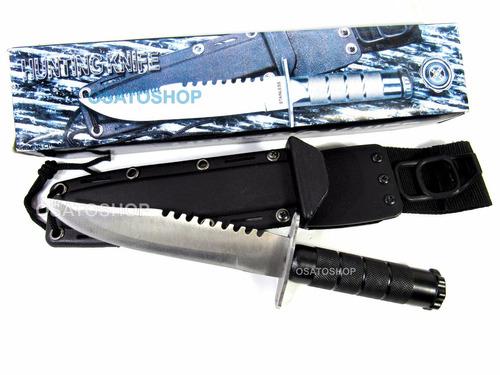 faca tática militar com coldre hk205 com kit sobrevivência