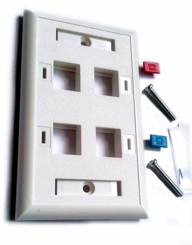 faceplate 4 puertos blanco