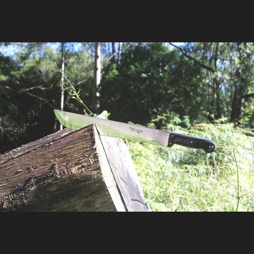 facão 14 largo militar aço inox 3mm cabo chifre bainha couro