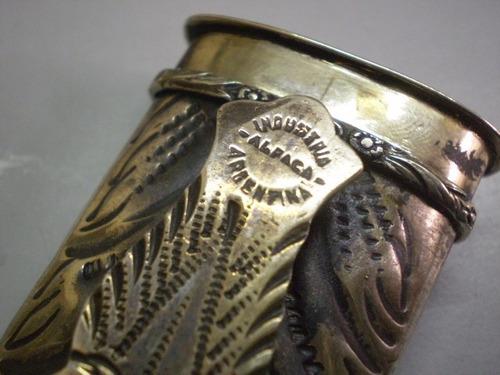 facón cuchillo de alpaca y oro con hoja juca (643)