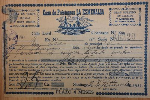 factura antigua casa de préstamos la esmeralda 1922