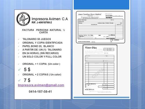 facturas seniat talonarios tarjetas presentacion,imprenta