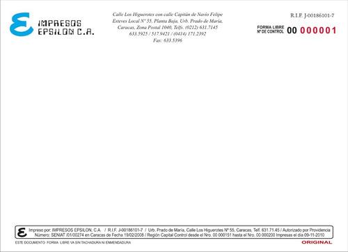facturas seniat - tipografia - litografia - impresos epsilon