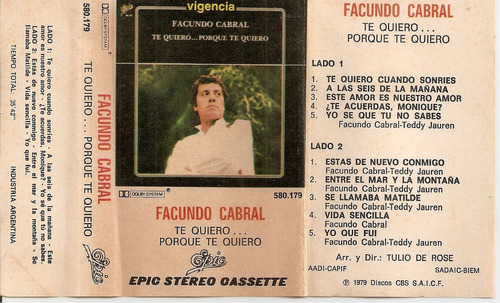 facundo cabral- te quiero porque te quiero - cassette- 1979
