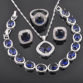 78bcaeef1b2a Fahoyo Plaza Zafiro Azul 925 Plata Esterlina Joyas... (7) por eBay