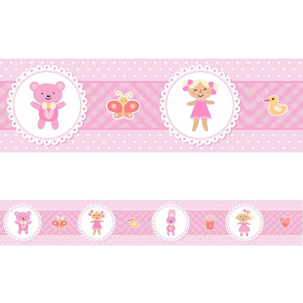 Faixa Adesiva Decorativa Parede Para Quarto Bebe Menina R 7 10  ~ Faixa Para Quarto De Bebe Feminino