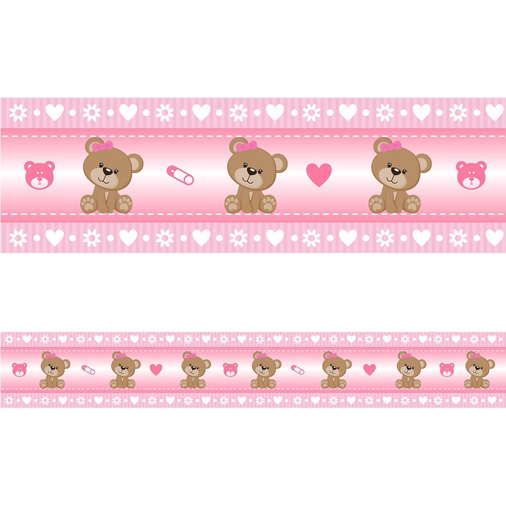 Adesivo Azulejo Pastilha Resinada ~ Faixa Adesiva Decorativa Parede Quarto Bebe Ursinha Rosa 10m R$ 71,00 em Mercado Livre
