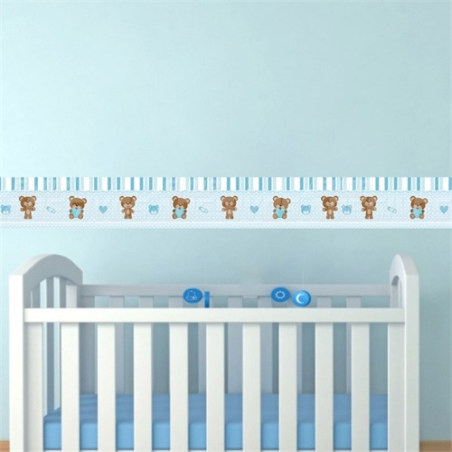 Faixa Quarto Bebe ~ Faixa Adesiva Decorativa Parede Quarto Bebe Ursinho Azul R$ 7,10 em Mercado Livre