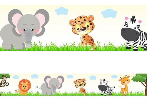 faixa adesiva decorativa quarto bebe safari bege 15 metros