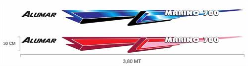 faixa adesivo barco alumar marino 600 / 700
