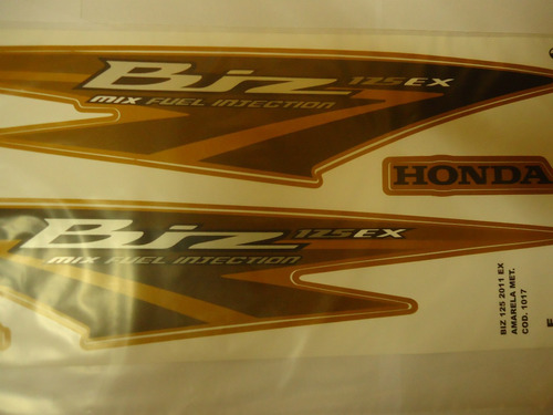 faixa adesivo biz 125 ex 11 amarela dourada