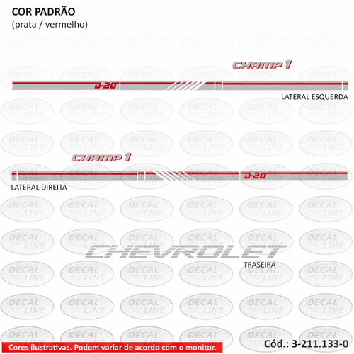 faixa auto adesiva d20 champ1 - cabine simples