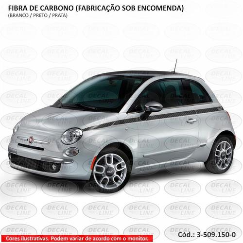faixa auto adesiva fiat 500 2012 estreita - fibra de carbono