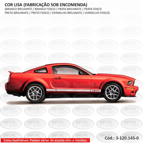 faixa auto adesiva gt500 2008 - lateral - cor lisa