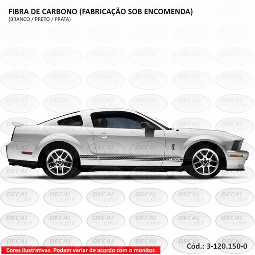 faixa auto adesiva gt500 2008 - lateral - fibra de carbono