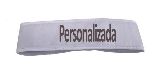 faixa cabelo com velcro branca 20 un personalizada bordada