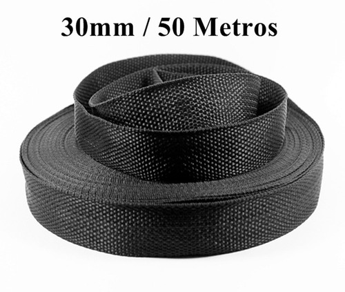 faixa cinta rolo de nylon 30mm preto 50 metros pro