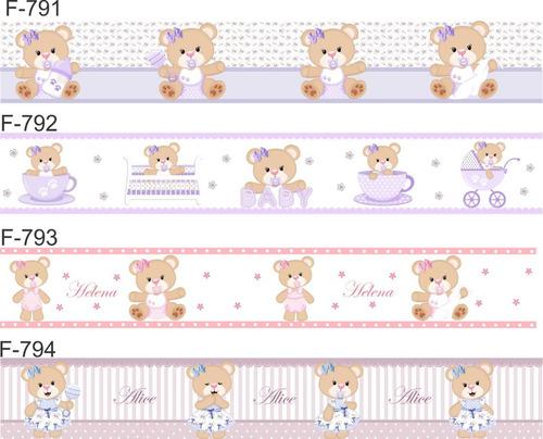 faixa decorativa adesivo parede infantil bebe urso realeza