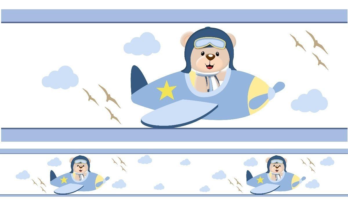 Faixa Decorativa Border Bebe Infantil Urso Aviador 10 Metros R