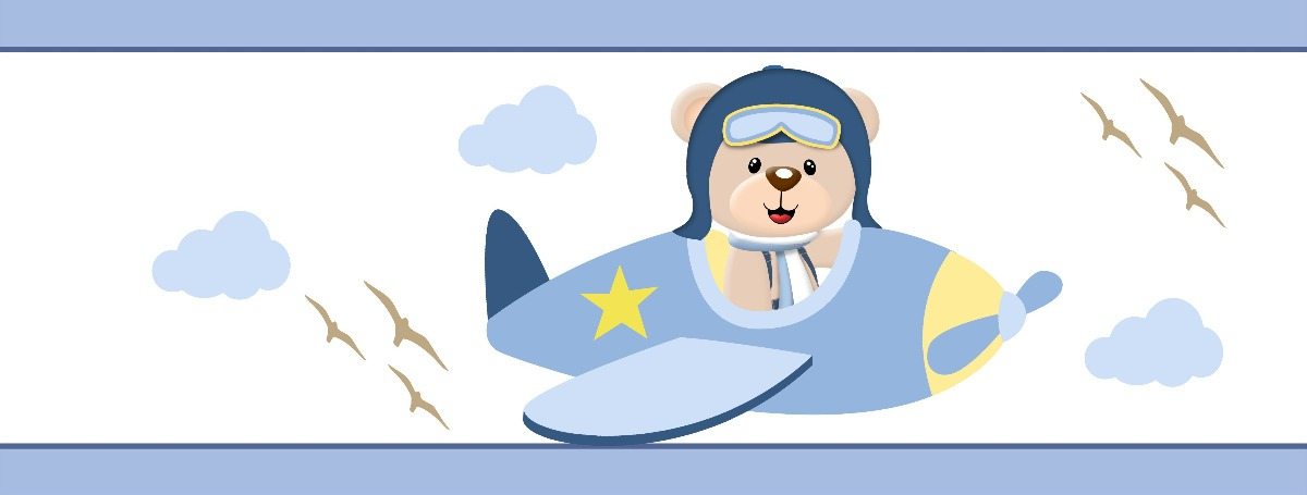 Faixa Decorativa Border Bebe Infantil Urso Aviador 11 Metros R