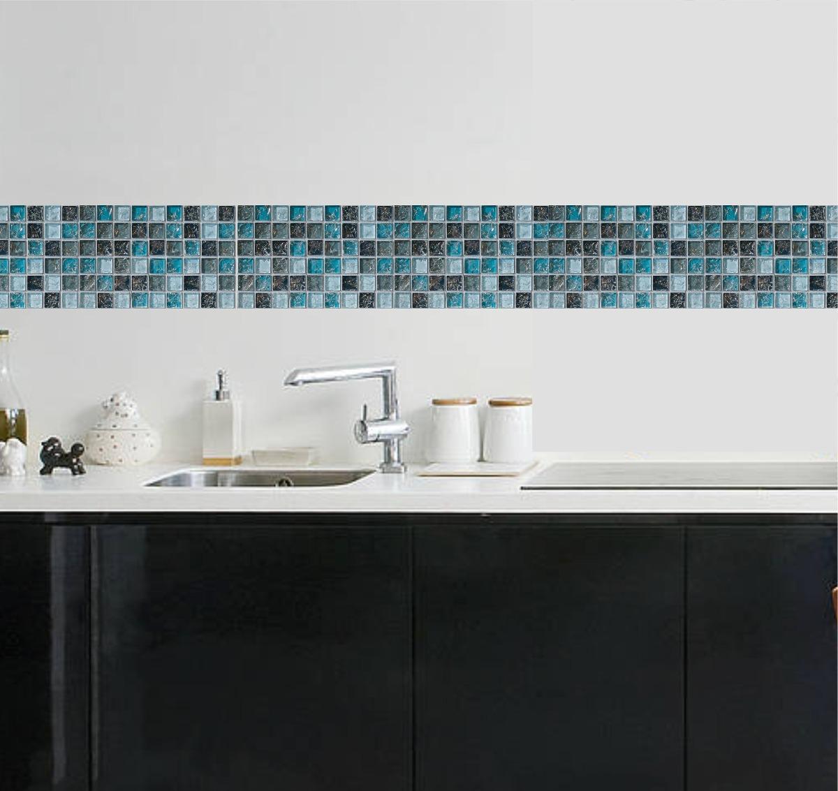 Faixa Decorativa Border Pastilhas Cozinha Banheiro Adesivo  R$ 69,90 em Merc -> Banheiro Com Faixa De Pastilha Preta