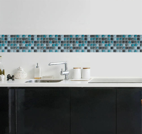 Faixa Decorativa Border Pastilhas Cozinha Banheiro Adesivo  R$ 69,90 em Merc -> Banheiro Adesivo Pastilha