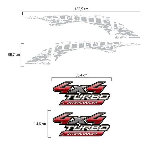 faixa decorativa hilux + 4x4 turbo intercooler adesivo prata