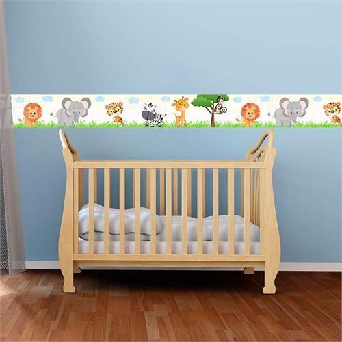 faixa decorativa quarto bebe safari bege 5 metros