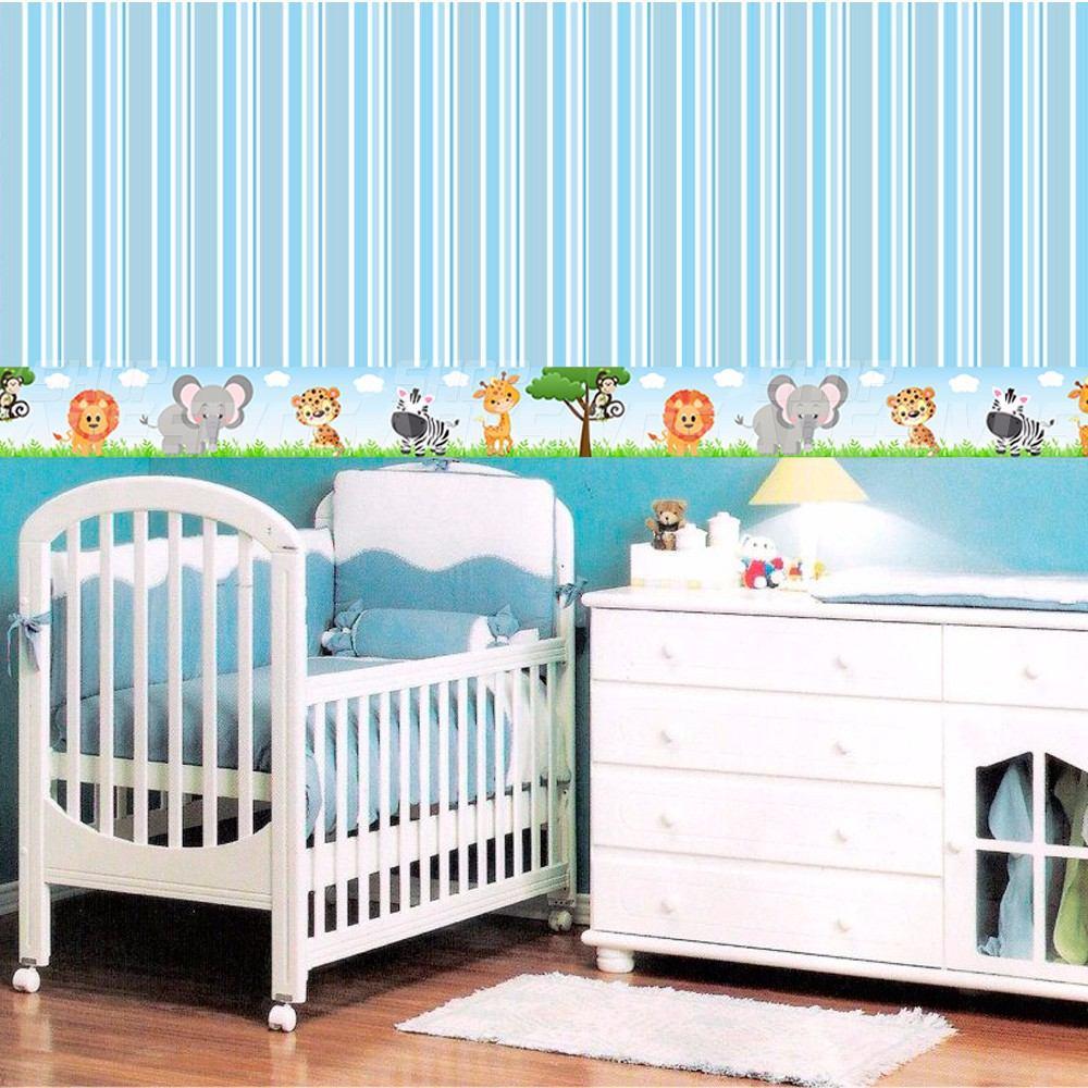 Faixa Decorativa Safari Com 20cm De 9mts R 85 50 Em Mercado Livre ~ Paredes De Gesso Para Quarto E Quarto De Bebe Floresta