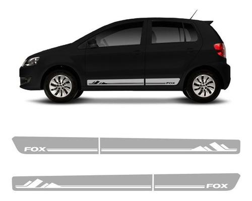 faixa fox 2012/ adesivo lateral portas preto, prata e cinza