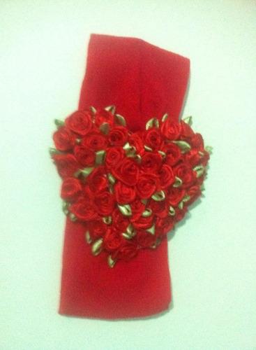 faixa tiara bebe coração flores