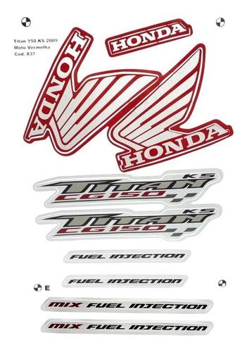 faixas / kit adesivos honda titan 150 2009 ks vermelha