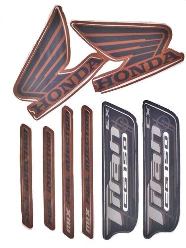 faixas / kit adesivos honda titan 150 ex 2010 laranja