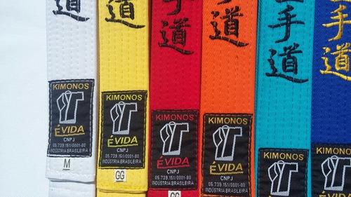 faixas para karatê reforçada bordada   100% algodão