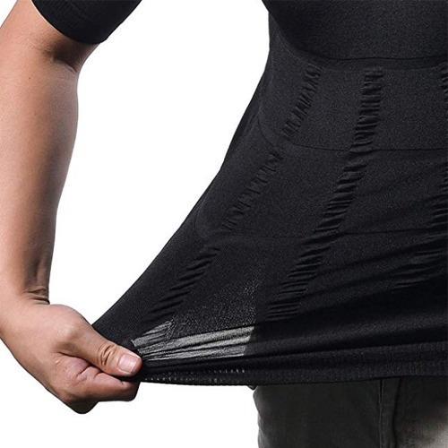 faja camiseta fuerte compresión hombre pecho abdomen negro