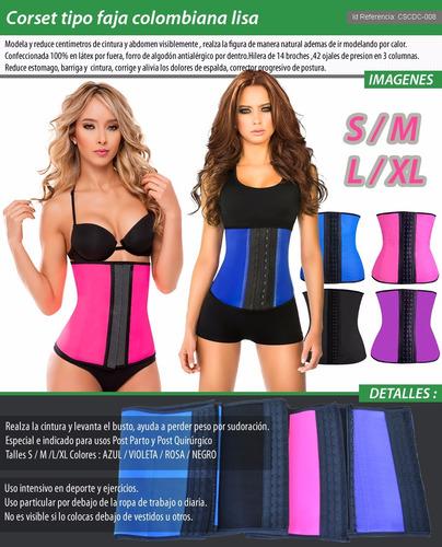 faja corset colombian lisa modelador ejercicios posparto off