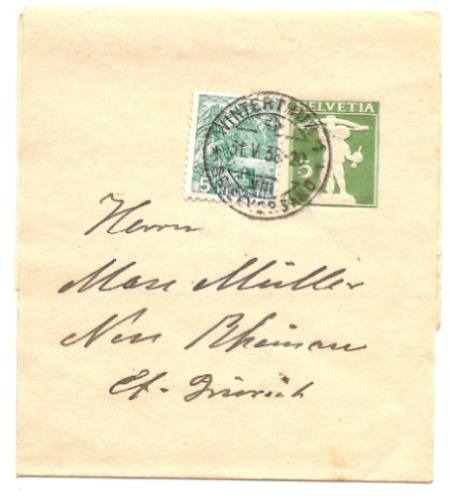 faja postal de suiza con agregado año 1938 - de coleccion