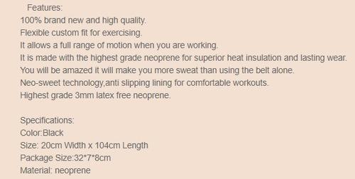 faja quema grasa ejercicio neopreno alta calidad 20 x 104 cm