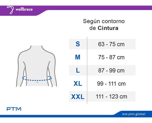 faja sacro lumbar simple regulable 5 ballenas ptm oficial