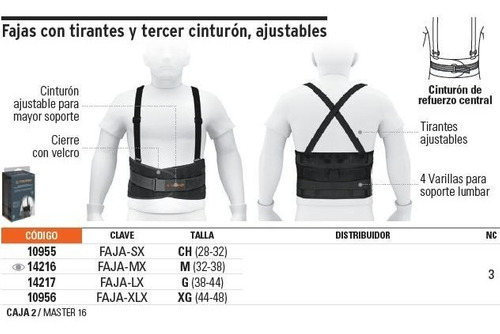 faja tirantes y cinturon ajustable xg truper 10956