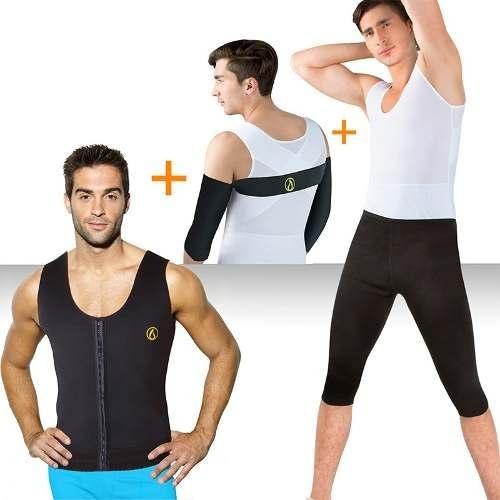 fajas térmicas combo x 3: chaleco + pantalón + brazos
