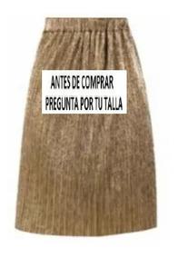 2b8b5f9c5 Falda 15705 Plisada Cintura Dorada Oro Fiesta Moda Nac Rinna