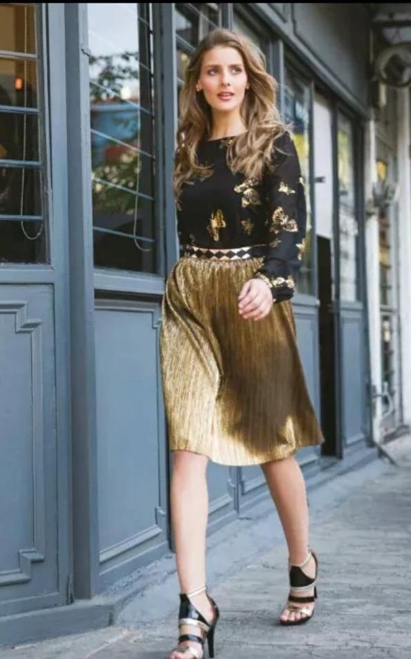 a1bd8177f falda 15705 plisada cintura dorada oro fiesta moda nac rinna. Cargando zoom.