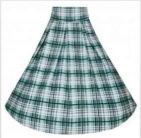3806eac4e Falda Acampanada Verde Escocesa Swing Rockabilly